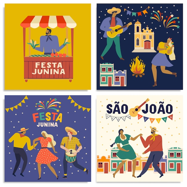 Portuguese brazilian text saying friend's village cards Premium Vector