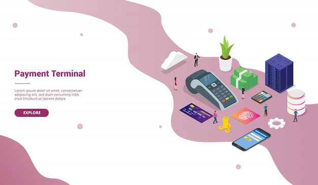Pos payment terminal concept with team people and credit card technology business for website template or landing homepage with isometric modern style Premium Vector