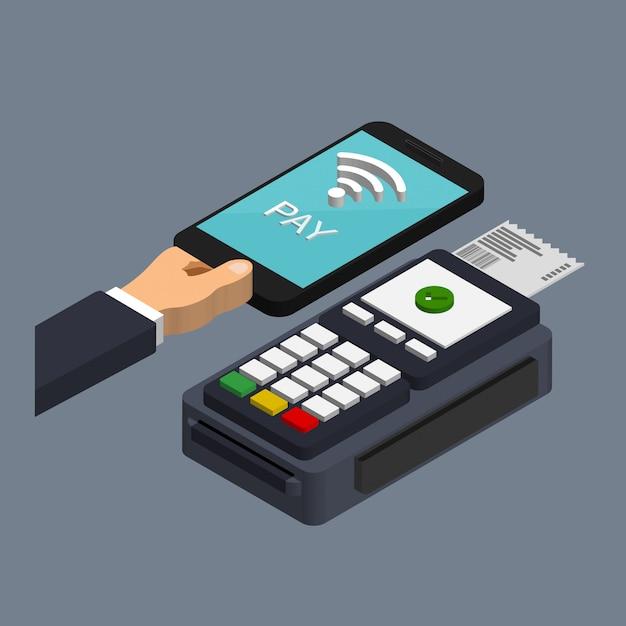 Pos-терминал подтверждает оплату смартфоном в модном изометрическом стиле. концепция платежей nfc. мобильная и бесконтактная оплата. концепция оплаты пропуска. Premium векторы