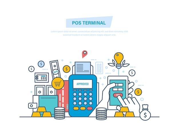 Pos-терминал, финансовые операции, безналичный расчет при оплате тонкой линией смартфона. Premium векторы
