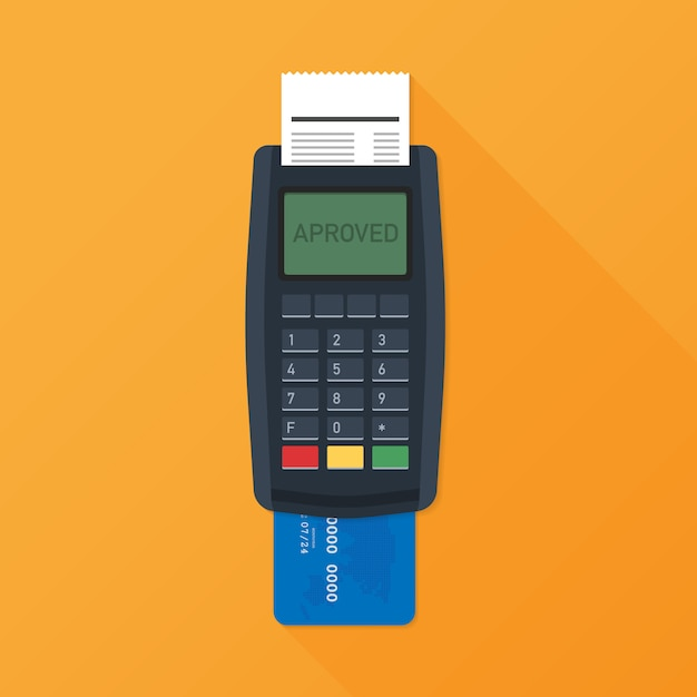 Pos terminal. payment terminal with receipt. banking and business services. vector illustration Premium Vector