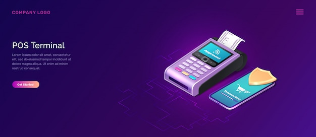 Pos terminal security banner, isometric business concept Free Vector