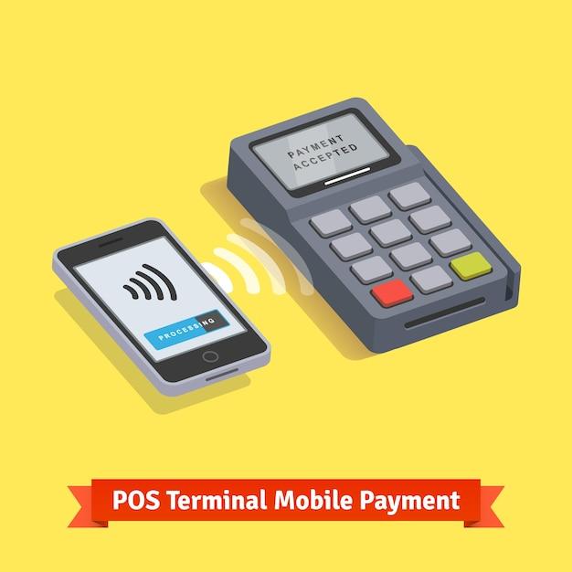 Pos terminal wireless mobilepayment transaction Free Vector
