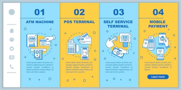 Оплата на сайте мобильного шаблона. банкомат. pos терминал. Premium векторы