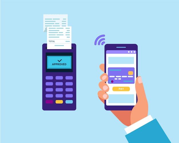 スマートフォン経由のモバイル決済。 pos端末と支払いのためのスマートフォンを持っている手 Premiumベクター