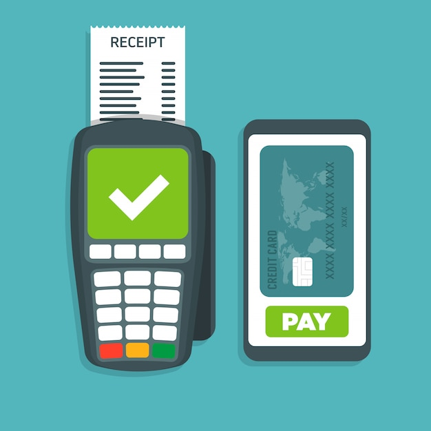 Pos端末は、スマートフォンのベクトル図で支払いを確認します。 Premiumベクター