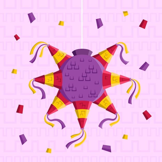 Posada piñata design piatto illustrazione Vettore gratuito