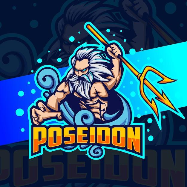 Poseidon god of sea mascot esport logo design Premium Vector