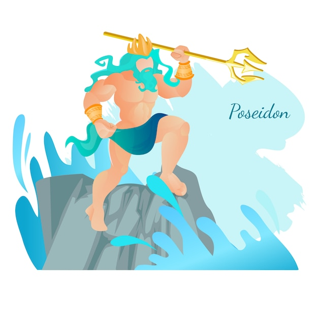 Poseidon god of seas and waters stand on rock Premium Vector