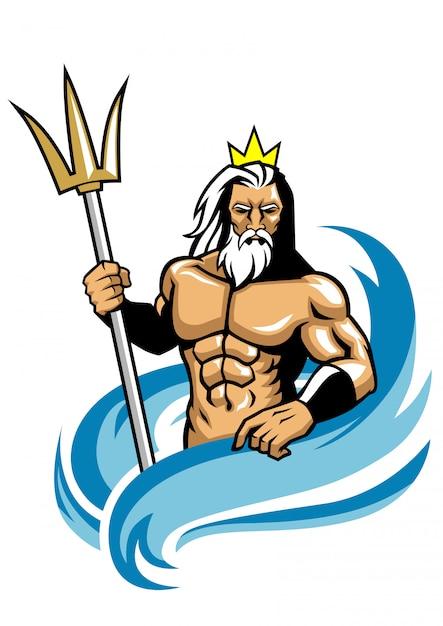 Poseidon mascot style Premium Vector