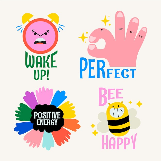 Positive energy in stickers collection Free Vector
