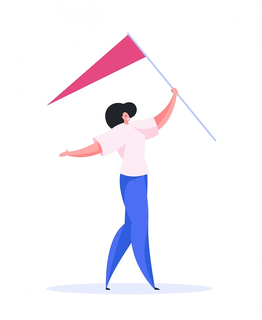 Положительный женский флаг, несущий к месту. плоский рисунок Premium векторы