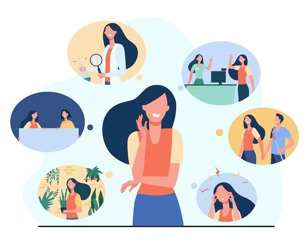긍정적 인 소녀와 그녀의 인생의 추억은 평면 그림을 격리합니다. 무료 벡터