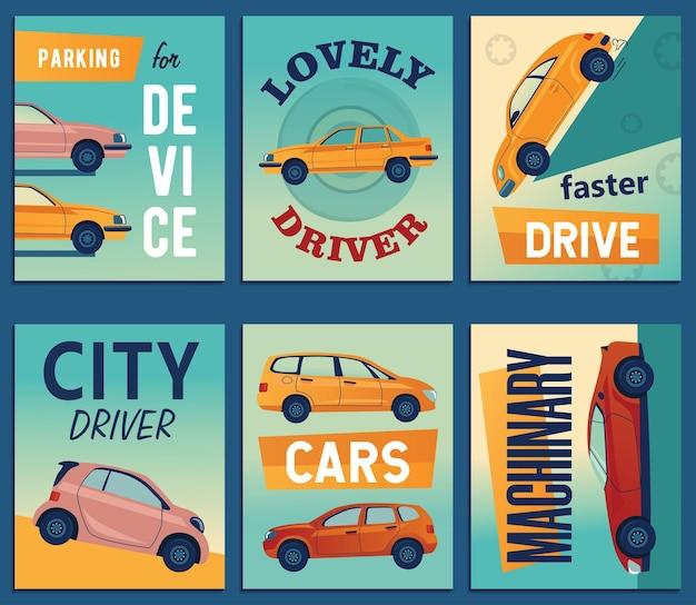 Позитивный дизайн поздравительных открыток с городскими автомобилями Бесплатные векторы
