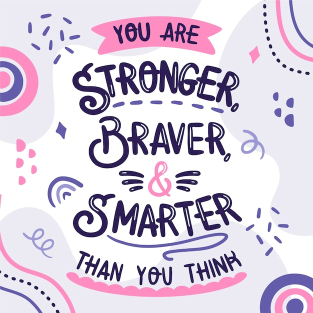 Positive lettering concept with motivational quote Free Vector