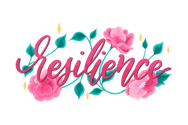 Positive lettering with flowers background Free Vector