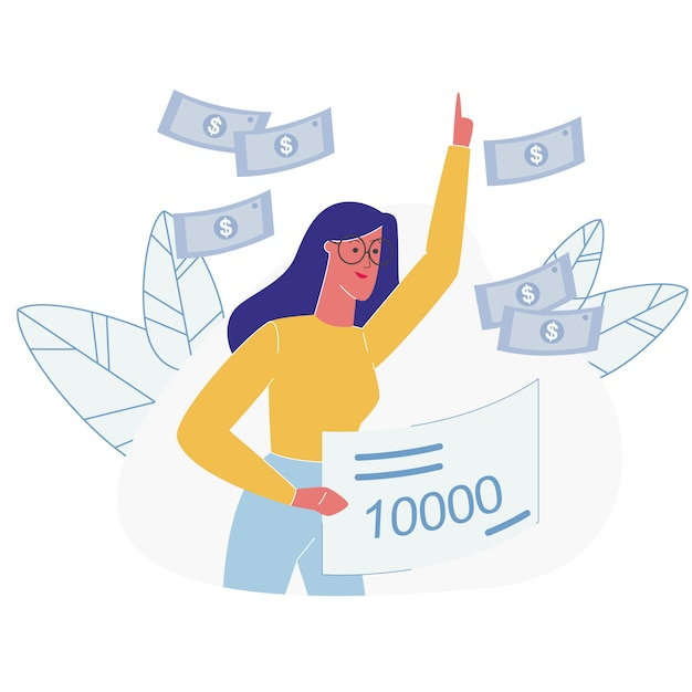 Positive lucky woman win lottery money shower Premium Vector