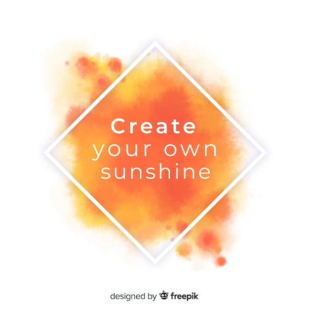 Positive message on orange watercolor stain Free Vector