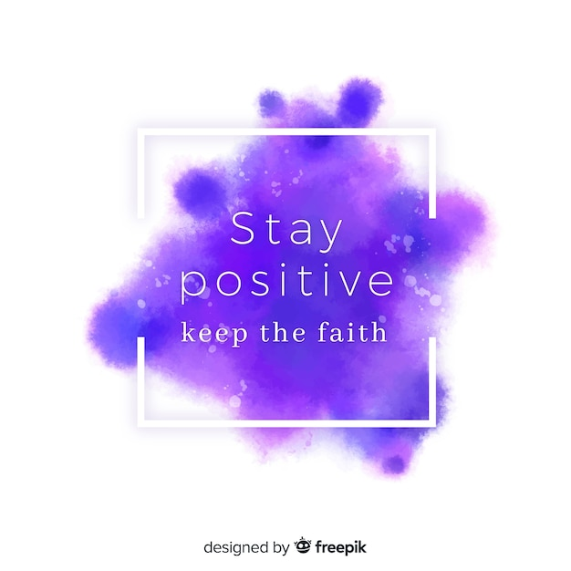 Positive message on purple watercolor stain Free Vector
