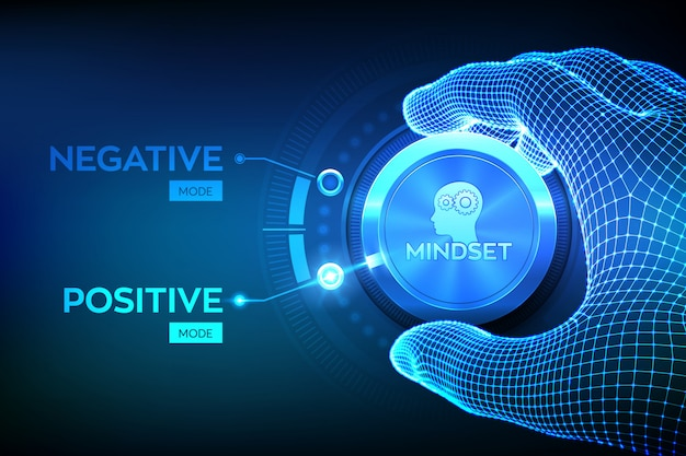 Positive or negative thinking. feel happy or unhappy. good or bad attitude. wireframe hand turning a knob to switch from negative to positive mindset. psychology .  illustration. Premium Vector
