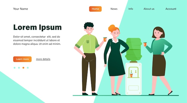 Positive people drinking water at cooler. office colleagues, chatting, break flat vector illustration. beverage, refreshment, watercooler concept website design or landing web page Free Vector