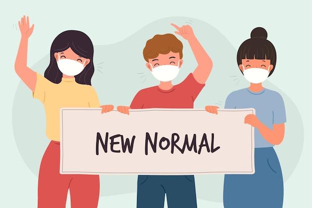 Позитивные люди сталкиваются с новым нормальным Premium векторы