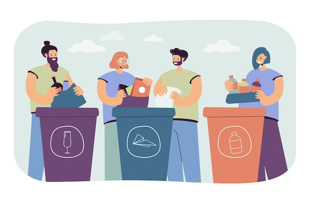Positive people sorting trash isolated flat illustration. Free Vector