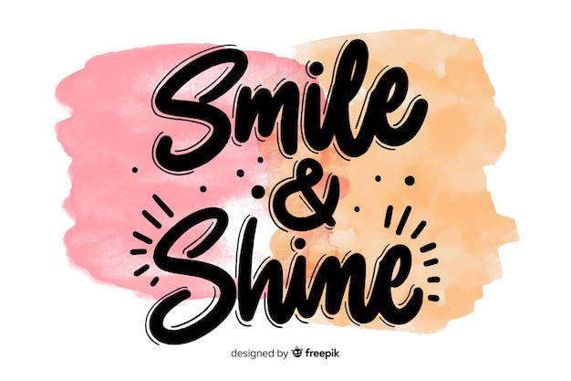 Positive quote on watercolor brush stain Free Vector