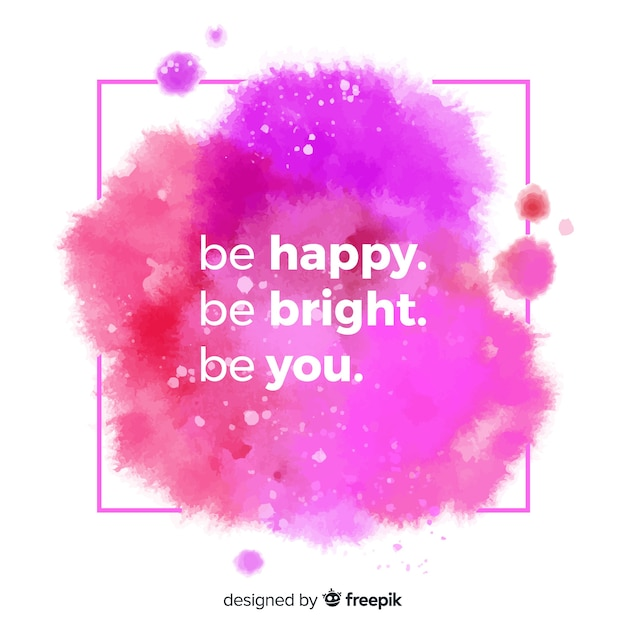 Positive quote with watercolor lettering Free Vector