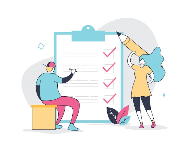 Positive tiny woman and man with a giant pencil and agenda Premium Vector