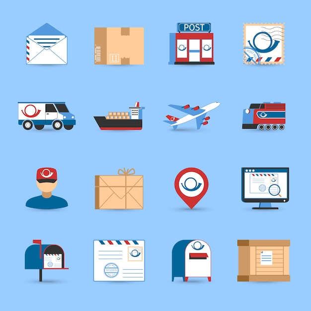 Post icons set Free Vector