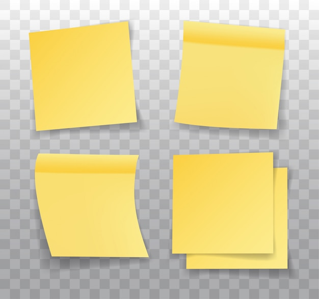Post-it note, set of realistic yellow paper bookmarks. paper adhesive tape with shadow. Premium Vector