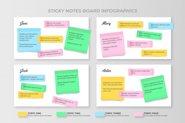 Post-it schede infografiche design piatto Vettore gratuito