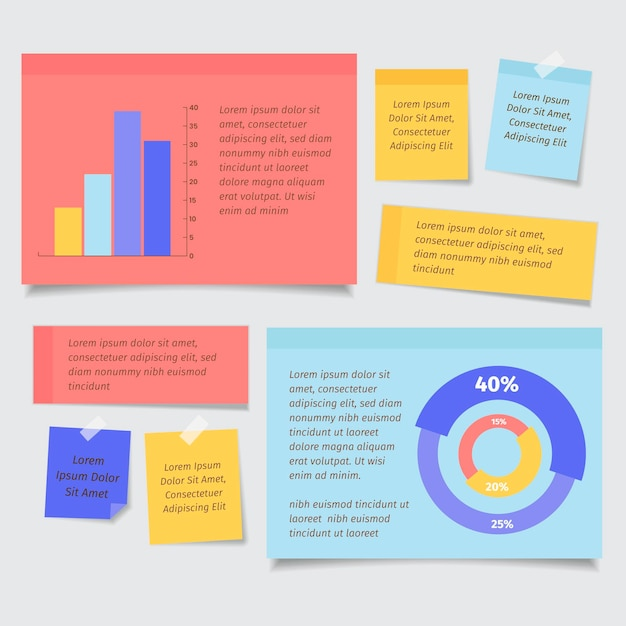 Infografica post-it in design piatto Vettore gratuito