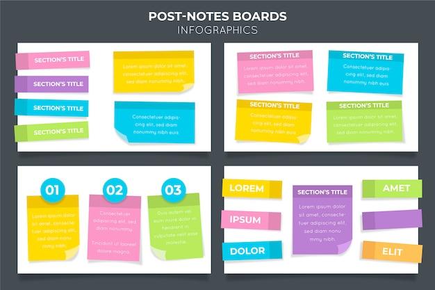 Размещайте инфографику досок в плоском дизайне Premium векторы