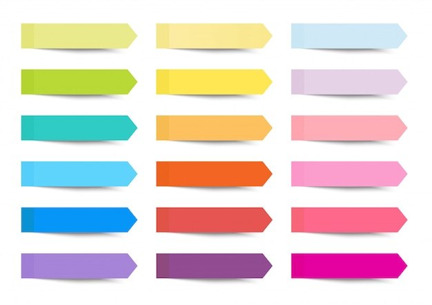 Post note sticky arrow index set with multi color Premium Vector