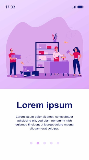 Post office employees and customers. workers sorting parcel boxes, courier or postman carrying letters and running. can be used for communication, mail, service concept Premium Vector