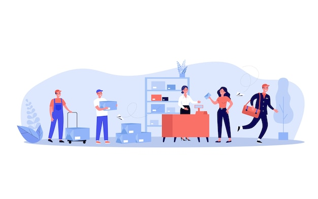 Post office employees and customers Premium Vector