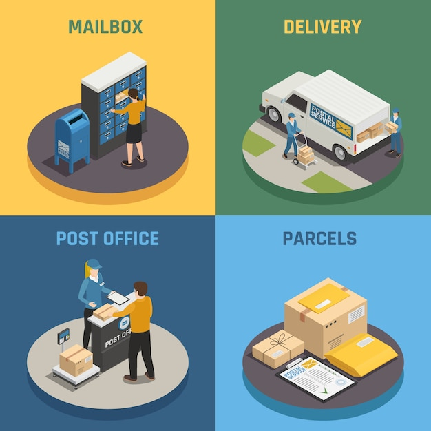 Post office mail delivery service 4 isometric icons square with mailbox parcels colorful background isolated Free Vector