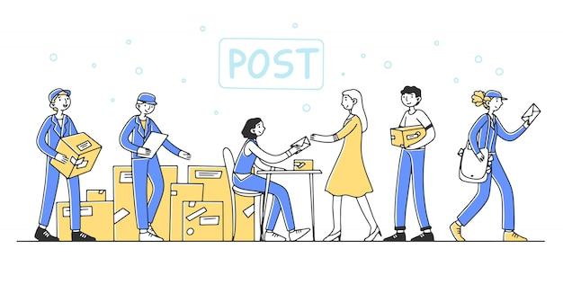 Почтовые работники, обслуживающие клиентов иллюстрации Premium векторы