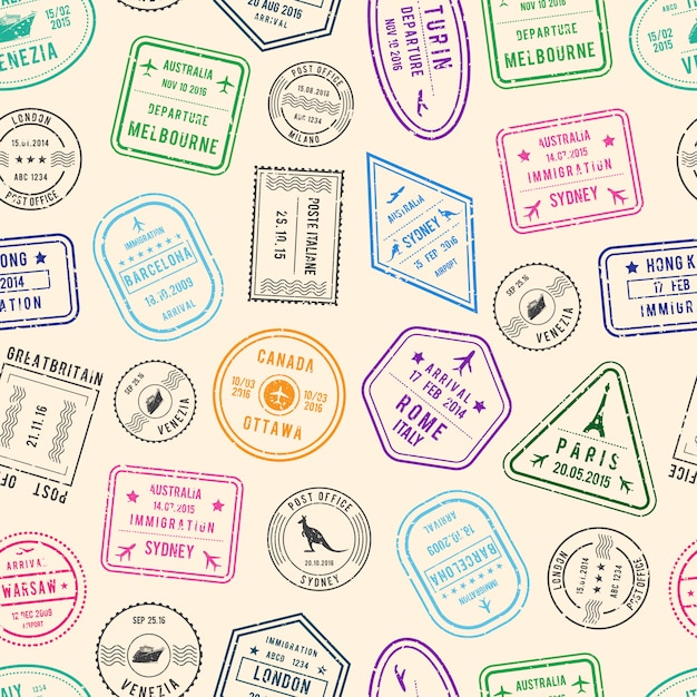 Post pattern and immigration stamps from different countries Premium Vector