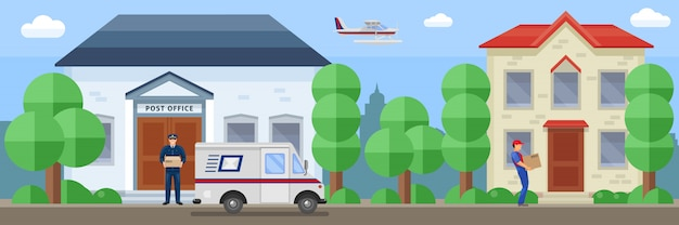 Post service composition with employee near mail office and delivery of order by destination vector illustration Free Vector