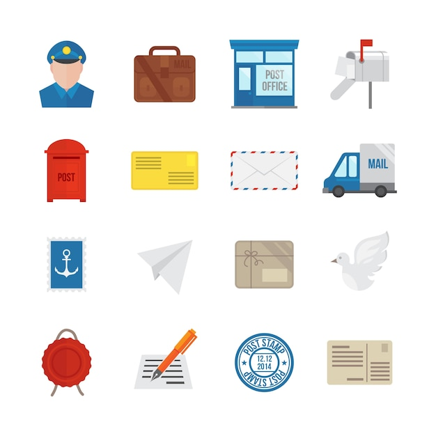 Post service icon flat set with delivery courier envelope and parcel packages isolated vector illustration