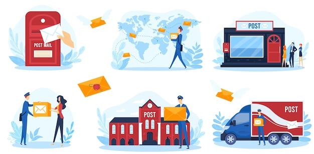 ポストサービスベクトルイラスト。郵便配達員のキャラクターの出荷小包と郵便、郵便配達員の宅配便が白で隔離された出荷バントラックに取り組んでいる漫画フラット郵便インフォグラフィックバナーコレクション Premiumベクター