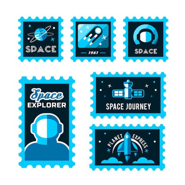 Post stamp with rocket in the space and grunge stamp Free Vector