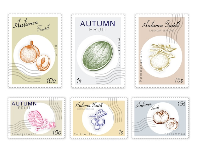Post stamps set of autumn fruits with paper cut art Premium Vector