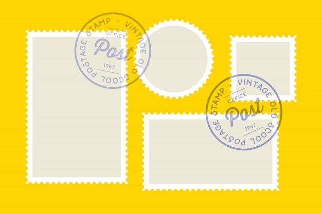 Postage stamp. set of postage stamp, collection square, circle Premium Vector