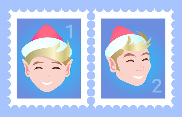 Postage stamp woman face avatar happy new year merry christmas template  female cartoon character portrait flat Premium Vector