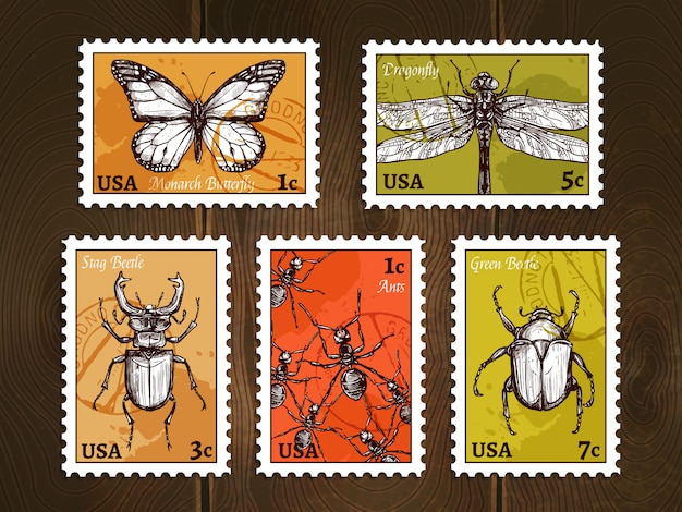 Postage stamps with insects sketches set Free Vector
