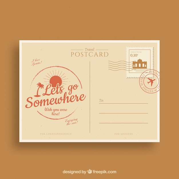 Postal card in vintage style Free Vector